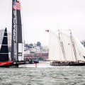 The old and the new. Both benchmarks of sailing innovation, the schooner America crosses paths with Team USA Oracle.